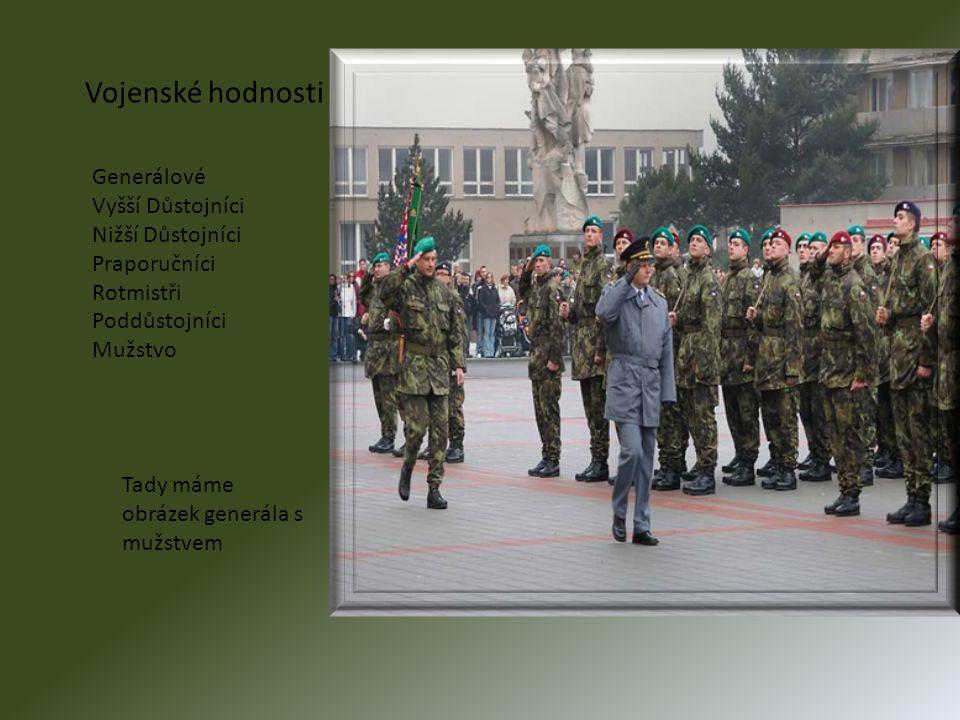 Vojenské hodnosti Generálové Vyšší Důstojníci Nižší Důstojníci Praporučníci Rotmistři Poddůstojníci Mužstvo Tady máme obrázek generála s mužstvem