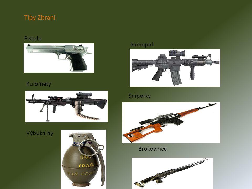 Tipy Zbraní Pistole Samopali Kulomety Sniperky Výbušniny Brokovnice