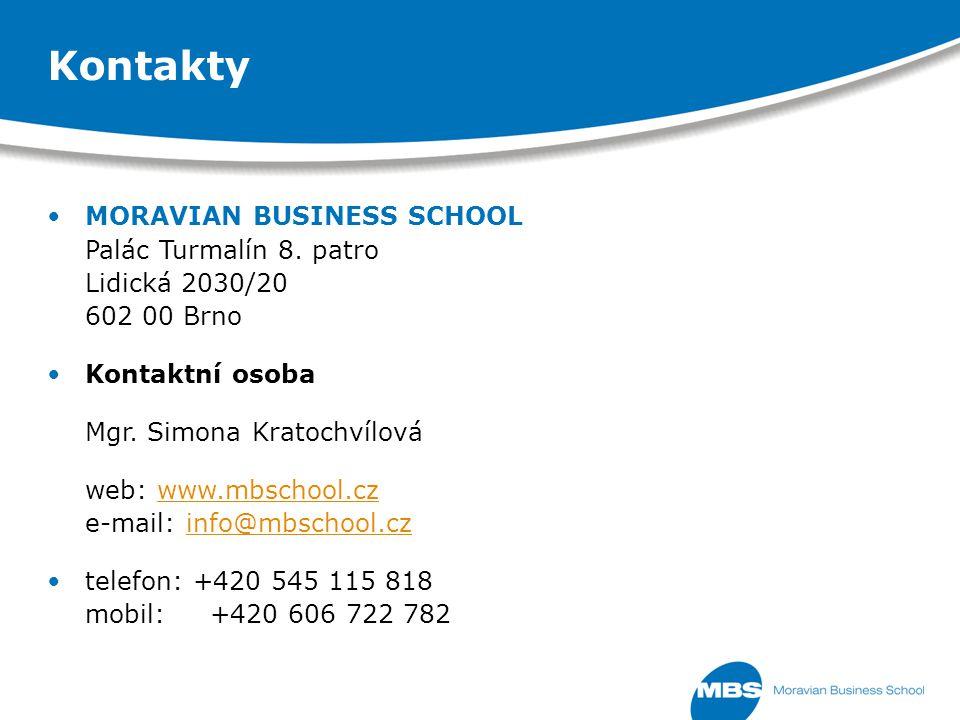MORAVIAN BUSINESS SCHOOL Palác Turmalín 8. patro Lidická 2030/20 602 00 Brno Kontaktní osoba Mgr.