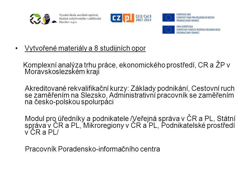 Vytvořené materiály a 8 studijních opor Komplexní analýza trhu práce, ekonomického prostředí, CR a ŽP v Moravskoslezském kraji Akreditované rekvalifikační kurzy: Základy podnikání, Cestovní ruch se zaměřením na Slezsko, Administrativní pracovník se zaměřením na česko-polskou spolurpáci Modul pro úředníky a podnikatele /Veřejná správa v ČR a PL, Státní správa v ČR a PL, Mikroregiony v ČR a PL, Podnikatelské prostředí v ČR a PL/ Pracovník Poradensko-informačního centra