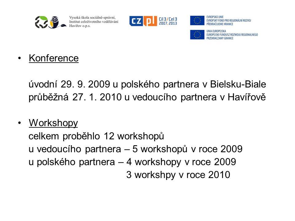 Konference úvodní 29. 9. 2009 u polského partnera v Bielsku-Biale průběžná 27.