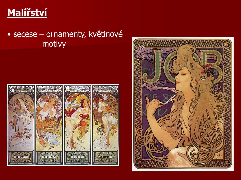 Malířství secese – ornamenty, květinové motivy