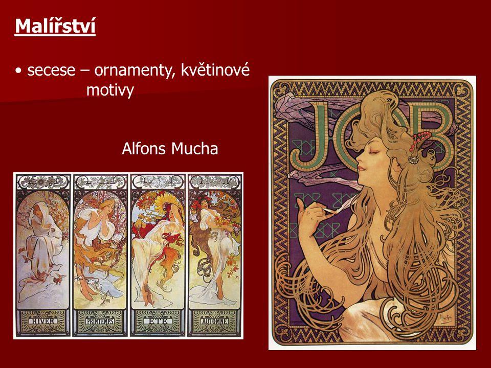 Malířství secese – ornamenty, květinové motivy Alfons Mucha