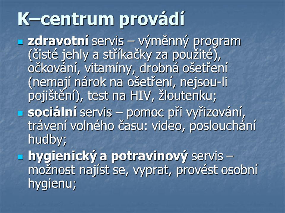 K–centrum provádí zdravotní servis – výměnný program (čisté jehly a stříkačky za použité), očkování, vitamíny, drobná ošetření (nemají nárok na ošetření, nejsou-li pojištění), test na HIV, žloutenku; zdravotní servis – výměnný program (čisté jehly a stříkačky za použité), očkování, vitamíny, drobná ošetření (nemají nárok na ošetření, nejsou-li pojištění), test na HIV, žloutenku; sociální servis – pomoc při vyřizování, trávení volného času: video, poslouchání hudby; sociální servis – pomoc při vyřizování, trávení volného času: video, poslouchání hudby; hygienický a potravinový servis – možnost najíst se, vyprat, provést osobní hygienu; hygienický a potravinový servis – možnost najíst se, vyprat, provést osobní hygienu;