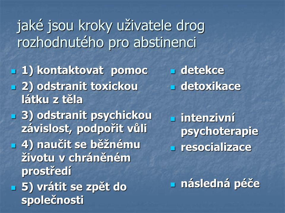 jaké jsou kroky uživatele drog rozhodnutého pro abstinenci 1) kontaktovat pomoc 1) kontaktovat pomoc 2) odstranit toxickou látku z těla 2) odstranit t