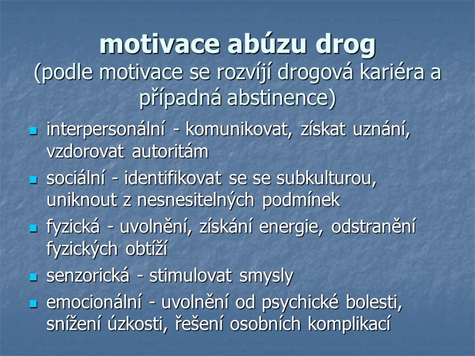 motivace abúzu drog (podle motivace se rozvíjí drogová kariéra a případná abstinence) interpersonální - komunikovat, získat uznání, vzdorovat autoritá