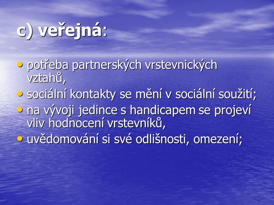 c) veřejná: potřeba partnerských vrstevnických vztahů, potřeba partnerských vrstevnických vztahů, sociální kontakty se mění v sociální soužití; sociál