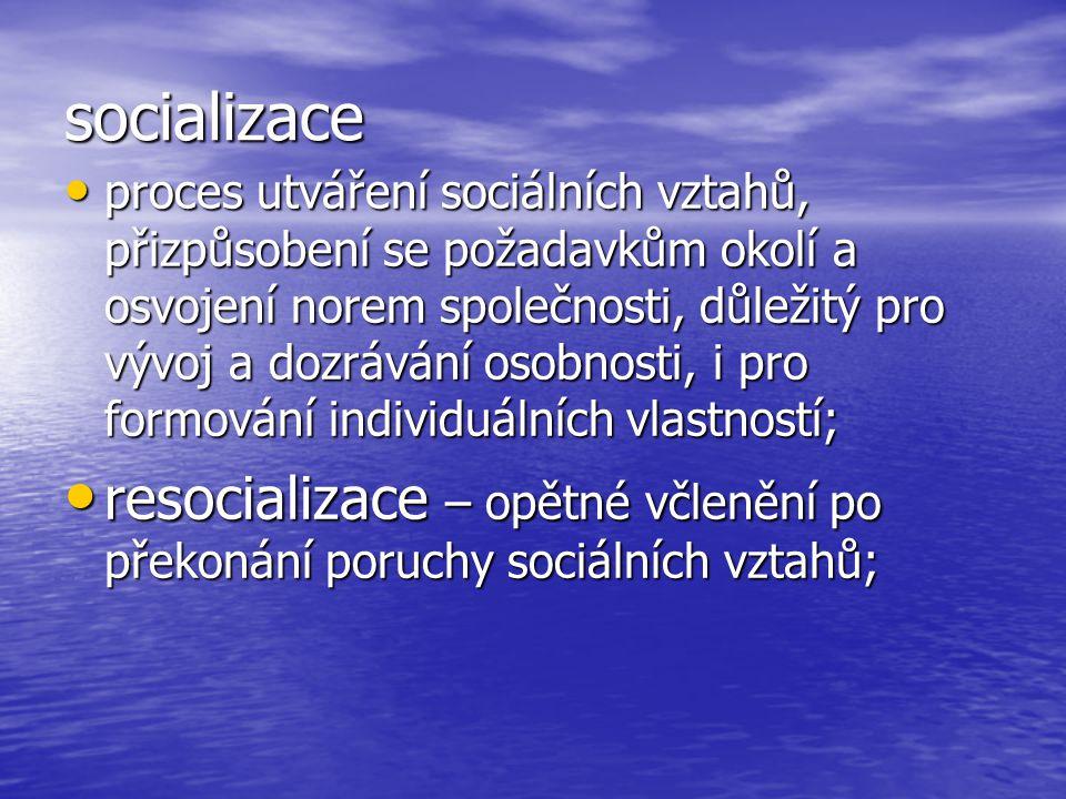 socializace proces utváření sociálních vztahů, přizpůsobení se požadavkům okolí a osvojení norem společnosti, důležitý pro vývoj a dozrávání osobnosti