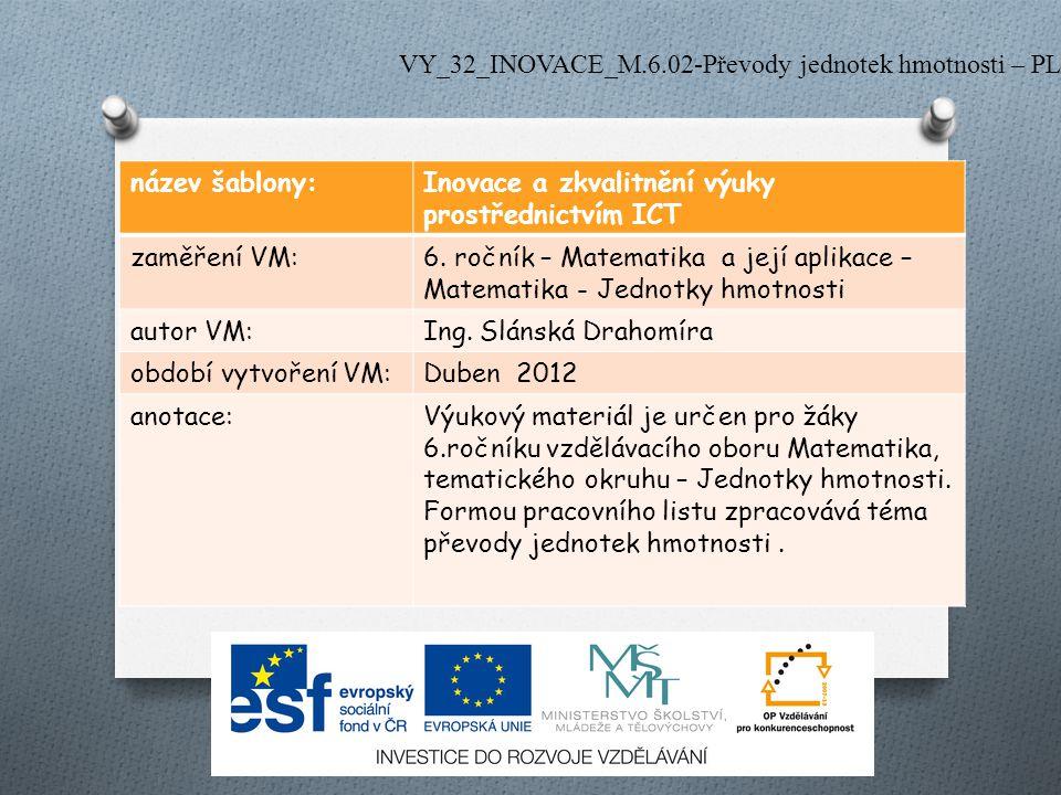 název šablony:Inovace a zkvalitnění výuky prostřednictvím ICT zaměření VM:6. ročník – Matematika a její aplikace – Matematika - Jednotky hmotnosti aut