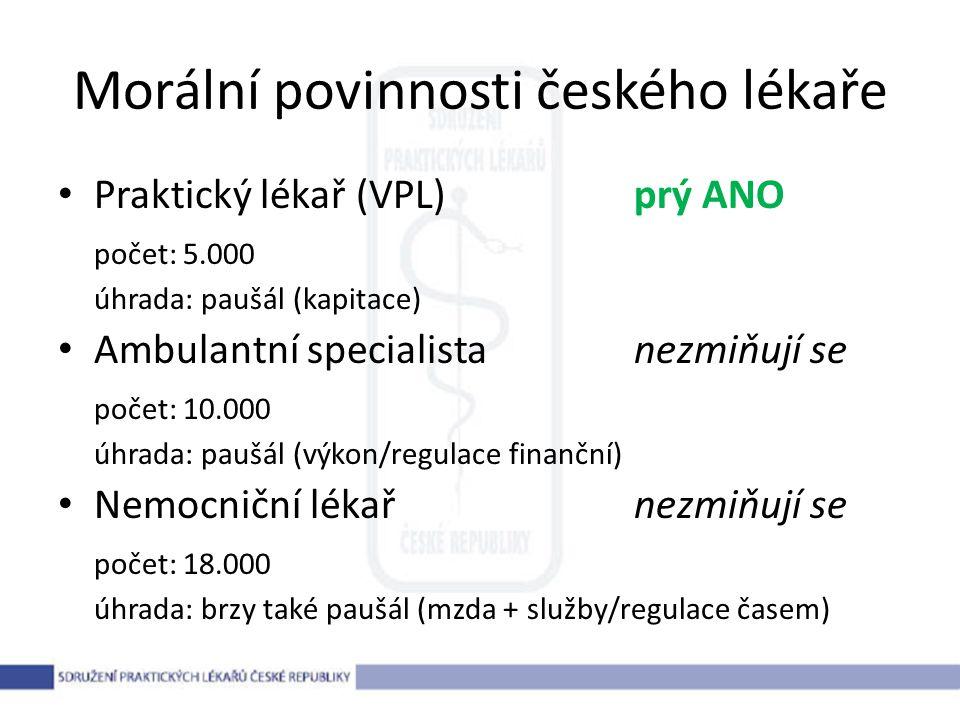 Morální povinnosti českého lékaře Praktický lékař (VPL)prý ANO počet: 5.000 úhrada: paušál (kapitace) Ambulantní specialistanezmiňují se počet: 10.000 úhrada: paušál (výkon/regulace finanční) Nemocniční lékařnezmiňují se počet: 18.000 úhrada: brzy také paušál (mzda + služby/regulace časem)