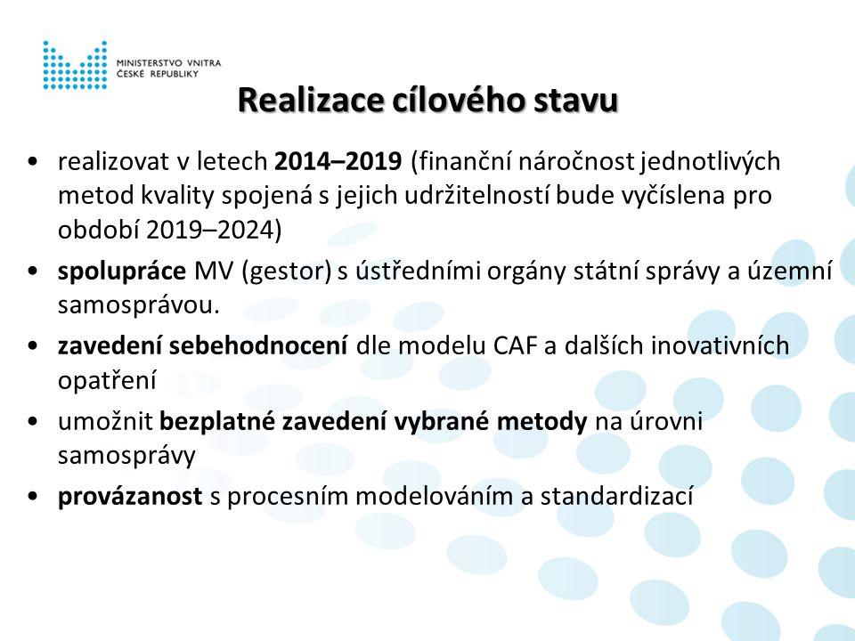 Realizace cílového stavu realizovat v letech 2014–2019 (finanční náročnost jednotlivých metod kvality spojená s jejich udržitelností bude vyčíslena pro období 2019–2024) spolupráce MV (gestor) s ústředními orgány státní správy a územní samosprávou.