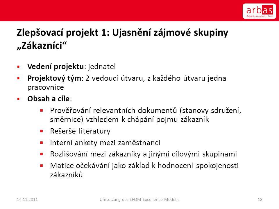 """Zlepšovací projekt 1: Ujasnění zájmové skupiny """"Zákazníci""""  Vedení projektu: jednatel  Projektový tým: 2 vedoucí útvaru, z každého útvaru jedna prac"""