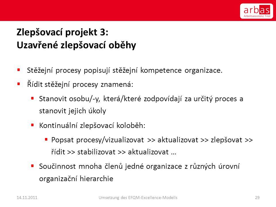 Zlepšovací projekt 3: Uzavřené zlepšovací oběhy  Stěžejní procesy popisují stěžejní kompetence organizace.  Řídit stěžejní procesy znamená:  Stanov