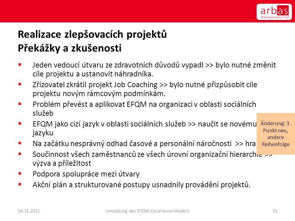 Realizace zlepšovacích projektů Překážky a zkušenosti  Jeden vedoucí útvaru ze zdravotních důvodů vypadl >> bylo nutné změnit cíle projektu a ustanov