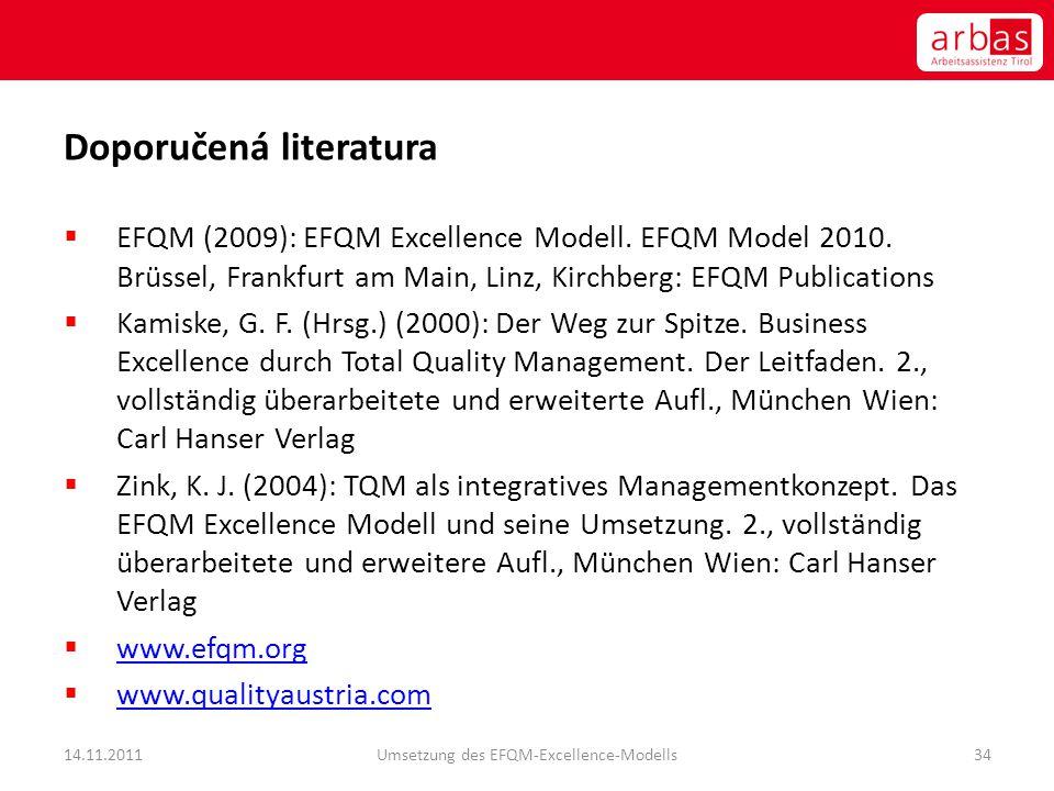 Doporučená literatura  EFQM (2009): EFQM Excellence Modell. EFQM Model 2010. Brüssel, Frankfurt am Main, Linz, Kirchberg: EFQM Publications  Kamiske