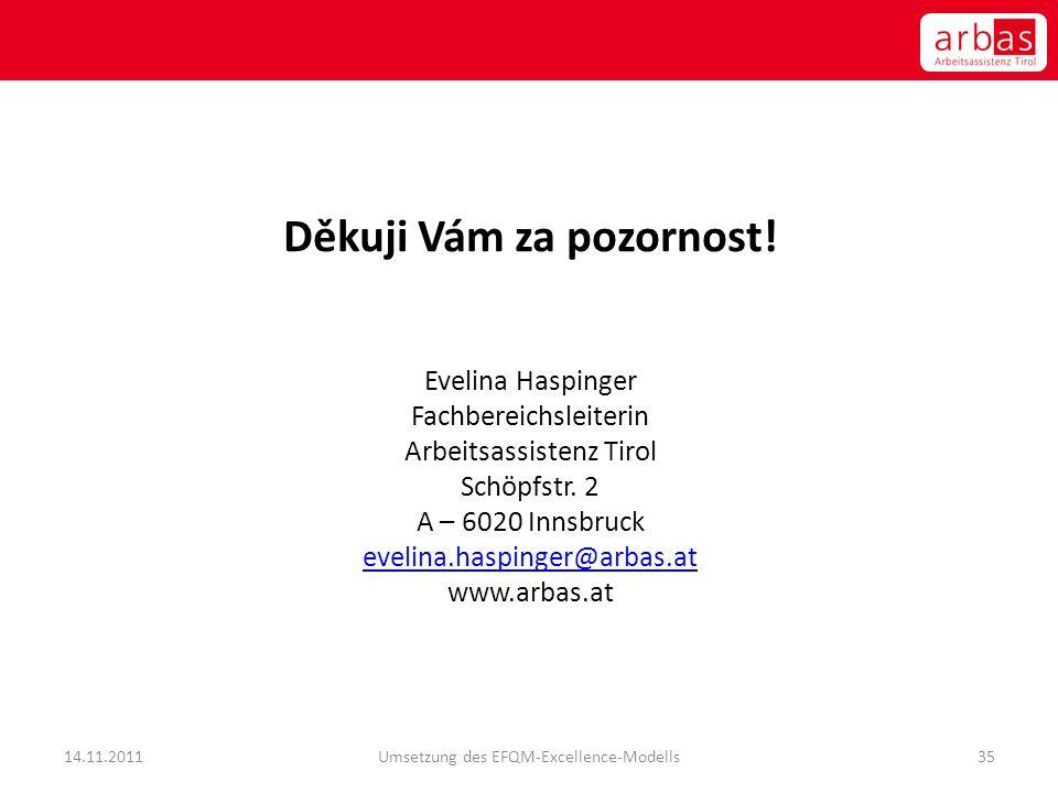 Děkuji Vám za pozornost! Evelina Haspinger Fachbereichsleiterin Arbeitsassistenz Tirol Schöpfstr. 2 A – 6020 Innsbruck evelina.haspinger@arbas.at www.