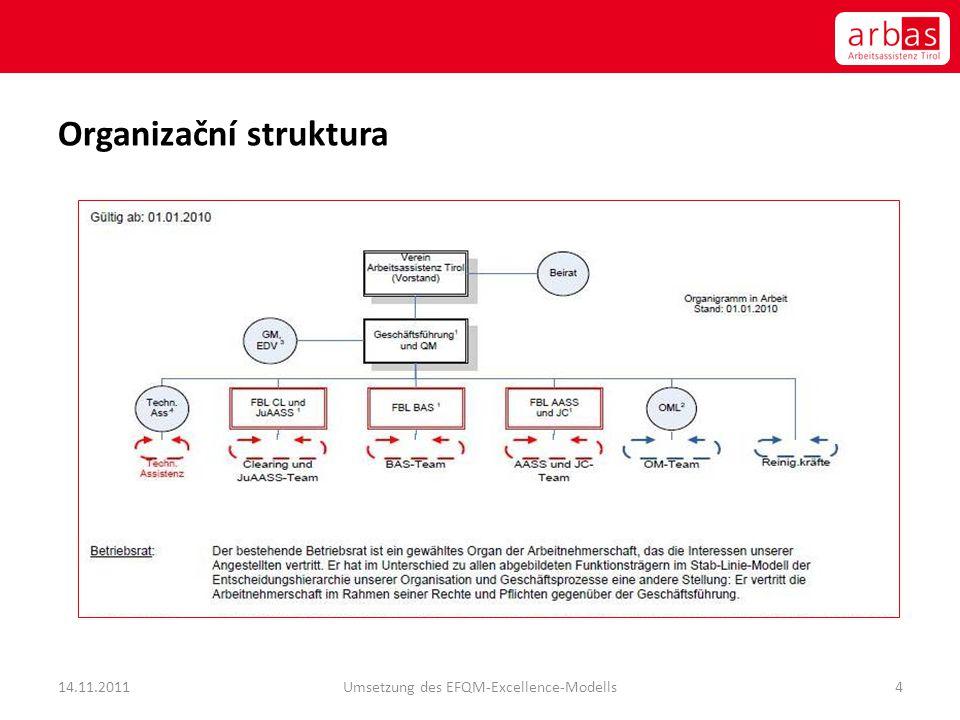 Organizační struktura 14.11.2011Umsetzung des EFQM-Excellence-Modells4