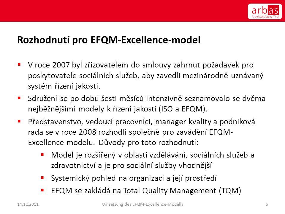 Rozhodnutí pro EFQM-Excellence-model  V roce 2007 byl zřizovatelem do smlouvy zahrnut požadavek pro poskytovatele sociálních služeb, aby zavedli mezi