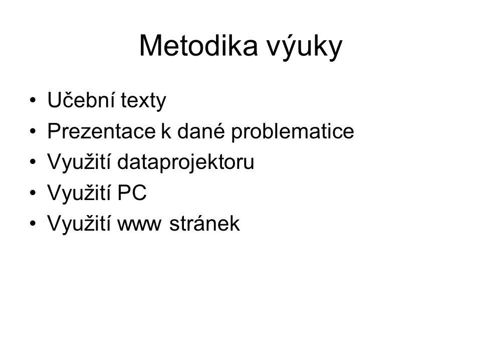 Metodika výuky Učební texty Prezentace k dané problematice Využití dataprojektoru Využití PC Využití www stránek