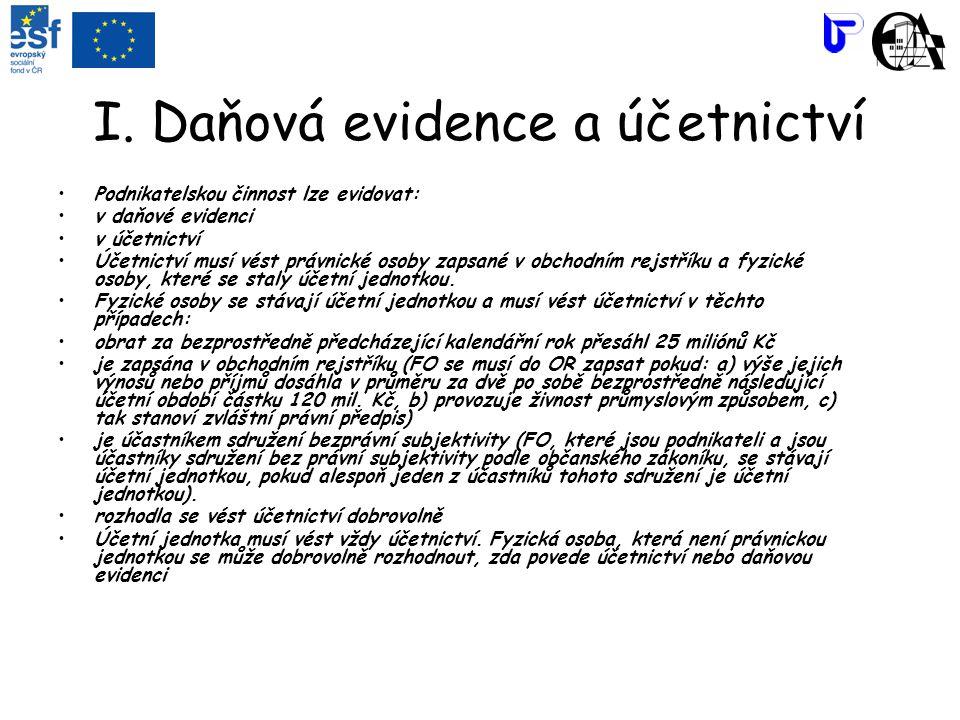 I. Daňová evidence a účetnictví Podnikatelskou činnost lze evidovat: v daňové evidenci v účetnictví Účetnictví musí vést právnické osoby zapsané v obc