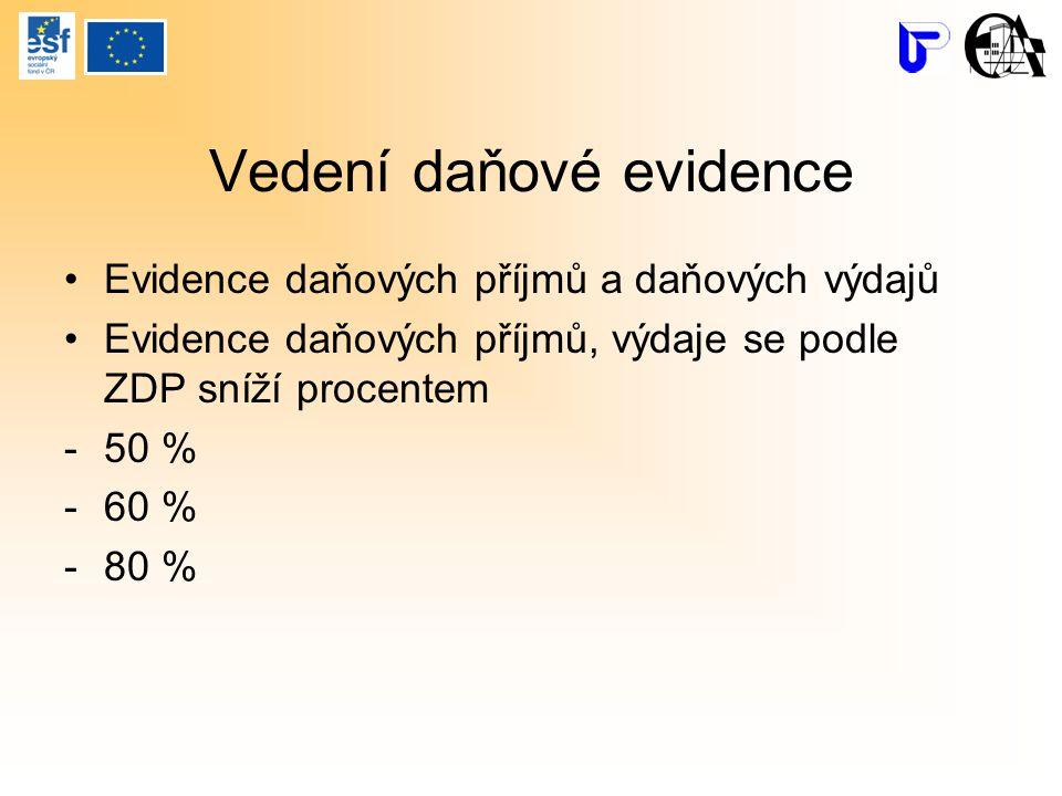 Vedení daňové evidence Evidence daňových příjmů a daňových výdajů Evidence daňových příjmů, výdaje se podle ZDP sníží procentem -50 % -60 % -80 %
