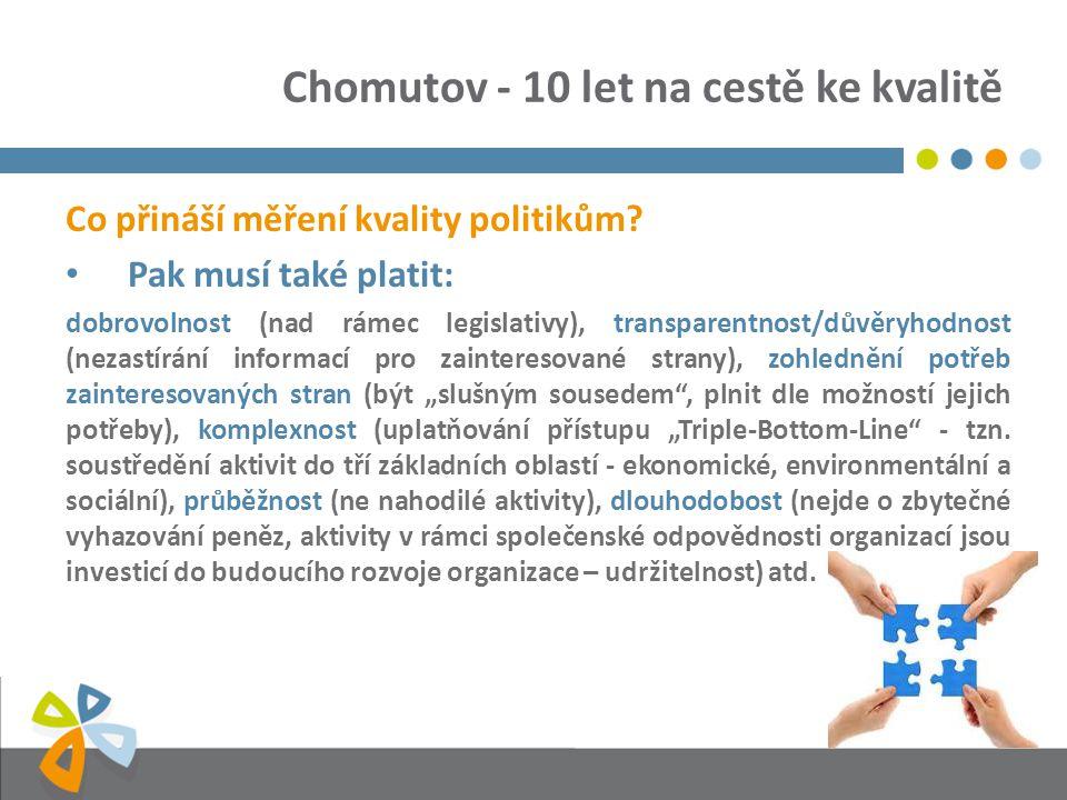Chomutov - 10 let na cestě ke kvalitě Co přináší měření kvality politikům? Pak musí také platit: dobrovolnost (nad rámec legislativy), transparentnost