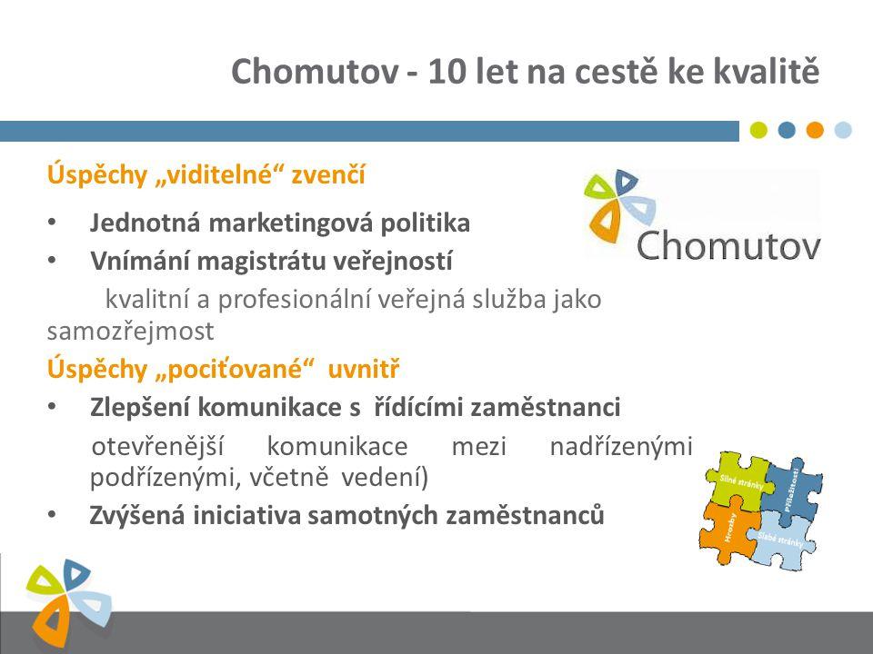 """Chomutov - 10 let na cestě ke kvalitě Úspěchy """"viditelné zvenčí Jednotná marketingová politika Vnímání magistrátu veřejností kvalitní a profesionální veřejná služba jako samozřejmost Úspěchy """"pociťované uvnitř Zlepšení komunikace s řídícími zaměstnanci otevřenější komunikace mezi nadřízenými a podřízenými, včetně vedení) Zvýšená iniciativa samotných zaměstnanců"""