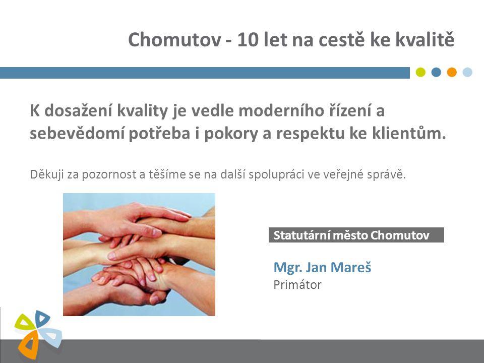 Statutární město Chomutov K dosažení kvality je vedle moderního řízení a sebevědomí potřeba i pokory a respektu ke klientům. Děkuji za pozornost a těš