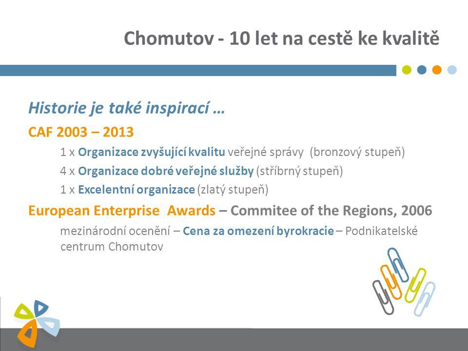 Chomutov - 10 let na cestě ke kvalitě Historie je také inspirací … CAF 2003 – 2013 1 x Organizace zvyšující kvalitu veřejné správy (bronzový stupeň) 4 x Organizace dobré veřejné služby (stříbrný stupeň) 1 x Excelentní organizace (zlatý stupeň) European Enterprise Awards – Commitee of the Regions, 2006 mezinárodní ocenění – Cena za omezení byrokracie – Podnikatelské centrum Chomutov