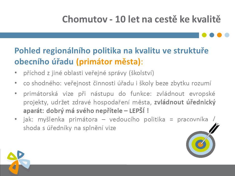 Chomutov - 10 let na cestě ke kvalitě Pohled regionálního politika na kvalitu ve struktuře obecního úřadu (primátor města): příchod z jiné oblasti veř