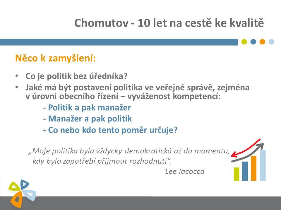Chomutov - 10 let na cestě ke kvalitě Něco k zamyšlení: Co je politik bez úředníka? Jaké má být postavení politika ve veřejné správě, zejména v úrovni