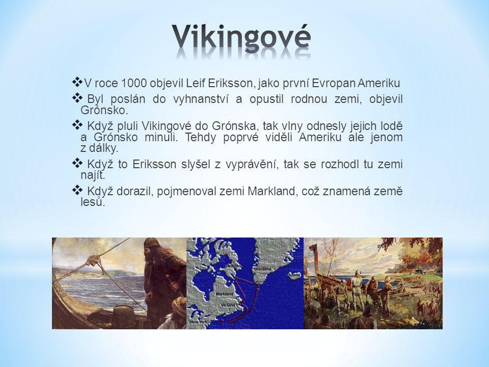  V roce 1000 objevil Leif Eriksson, jako první Evropan Ameriku  Byl poslán do vyhnanství a opustil rodnou zemi, objevil Grónsko.