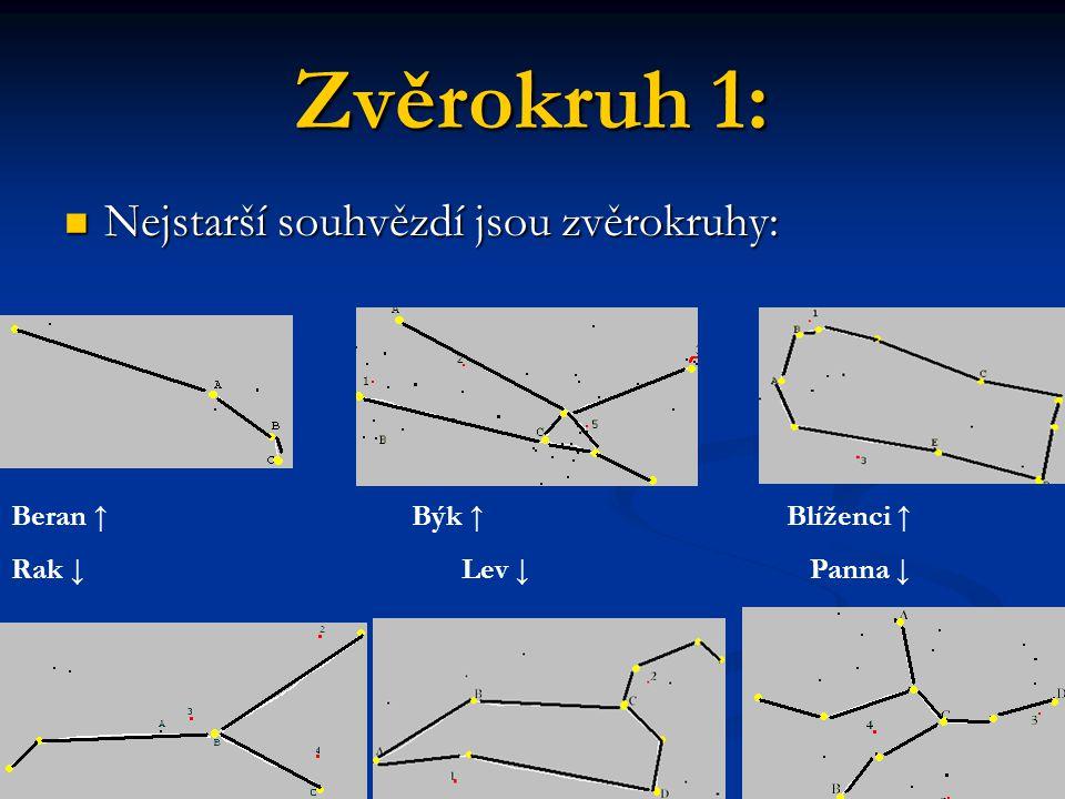 Zvěrokruh 1: Nejstarší souhvězdí jsou zvěrokruhy: Nejstarší souhvězdí jsou zvěrokruhy: Beran ↑ Býk ↑ Blíženci ↑ Rak ↓ Lev ↓ Panna ↓