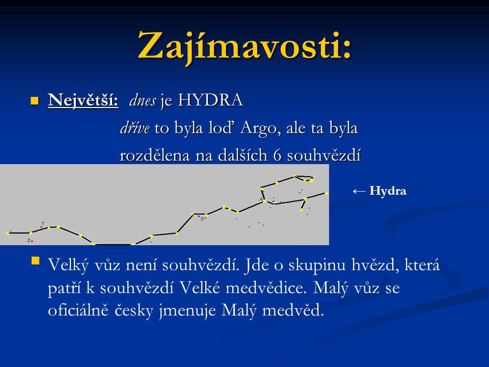 Zajímavosti: Největší: dnes je HYDRA Největší: dnes je HYDRA dříve to byla loď Argo, ale ta byla dříve to byla loď Argo, ale ta byla rozdělena na dalších 6 souhvězdí rozdělena na dalších 6 souhvězdí   Velký vůz není souhvězdí.