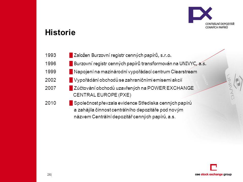 26| Historie 1993█ Založen Burzovní registr cenných papírů, s.r.o.