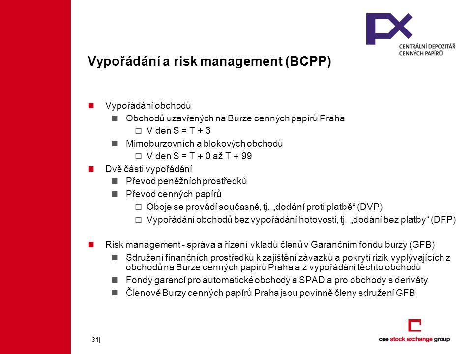 31| Vypořádání a risk management (BCPP) Vypořádání obchodů Obchodů uzavřených na Burze cenných papírů Praha  V den S = T + 3 Mimoburzovních a blokových obchodů  V den S = T + 0 až T + 99 Dvě části vypořádání Převod peněžních prostředků Převod cenných papírů  Oboje se provádí současně, tj.