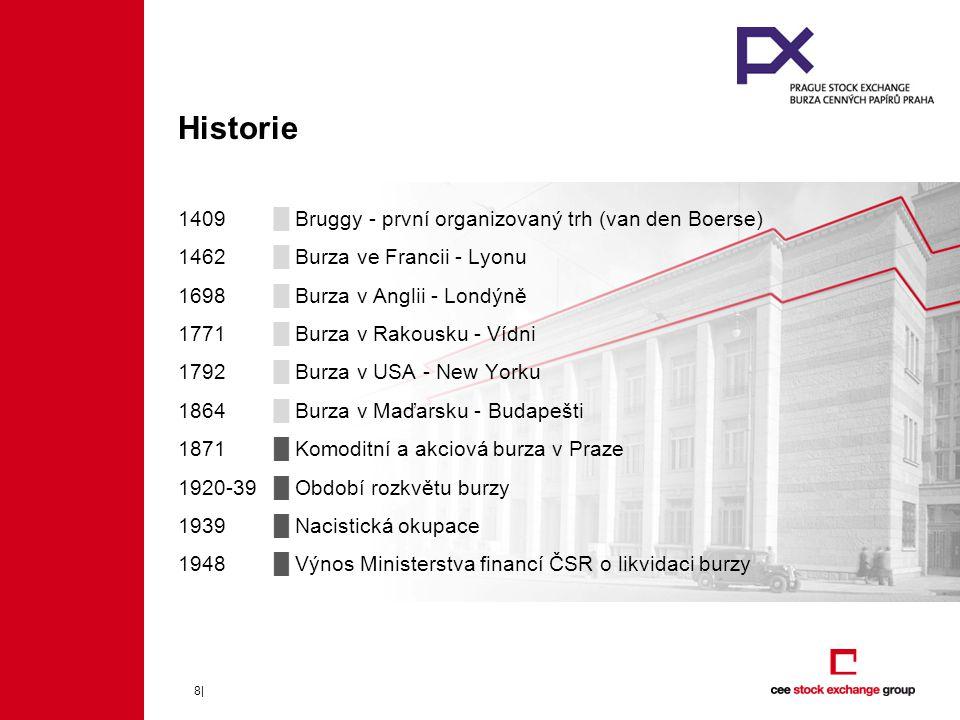 9| Novodobá historie 1992█ Založena BCPP – 12 bank a 5 brokerských společností 1993█ Znovuotevření burzy 1993█ 1.