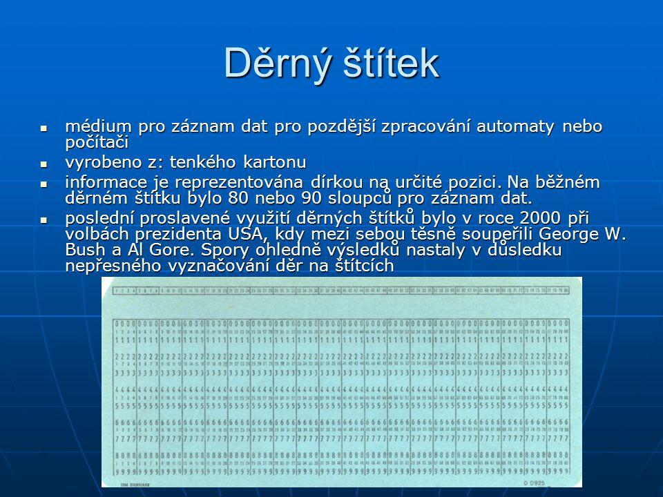 Děrný štítek médium pro záznam dat pro pozdější zpracování automaty nebo počítači médium pro záznam dat pro pozdější zpracování automaty nebo počítači