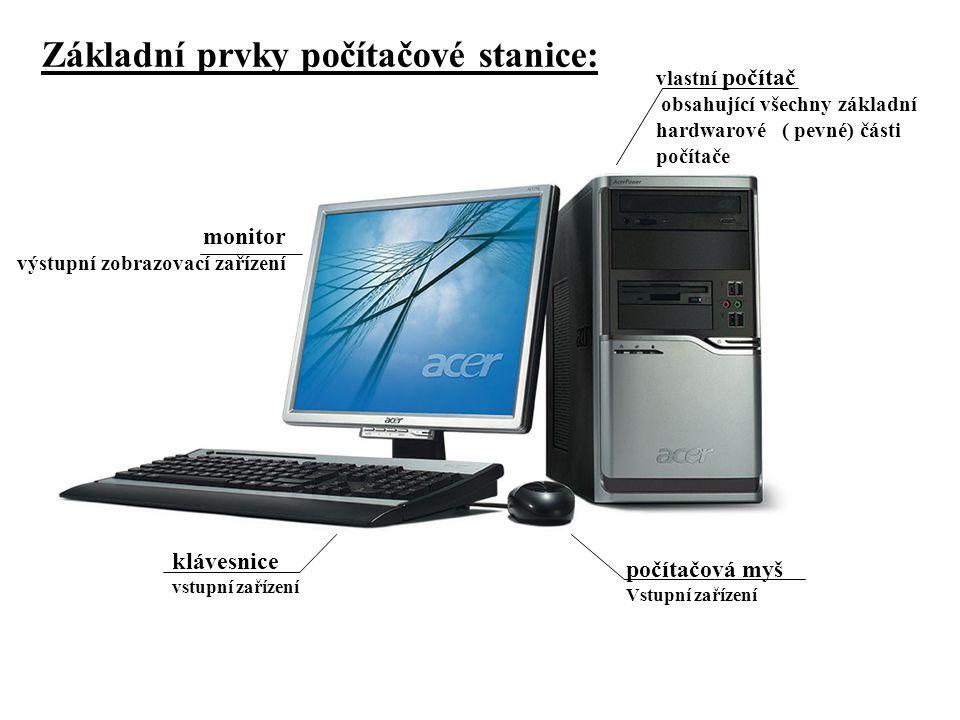 Základní prvky počítačové stanice: monitor výstupní zobrazovací zařízení počítačová myš Vstupní zařízení klávesnice vstupní zařízení vlastní počítač obsahující všechny základní hardwarové ( pevné) části počítače