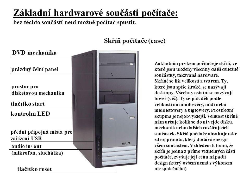 Základní hardwarové součásti počítače: bez těchto součástí není možné počítač spustit. Základním prvkem počítače je skříň, ve které jsou uloženy všech