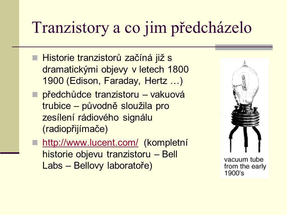 Tranzistory a co jim předcházelo Historie tranzistorů začíná již s dramatickými objevy v letech 1800 1900 (Edison, Faraday, Hertz …) předchůdce tranzi