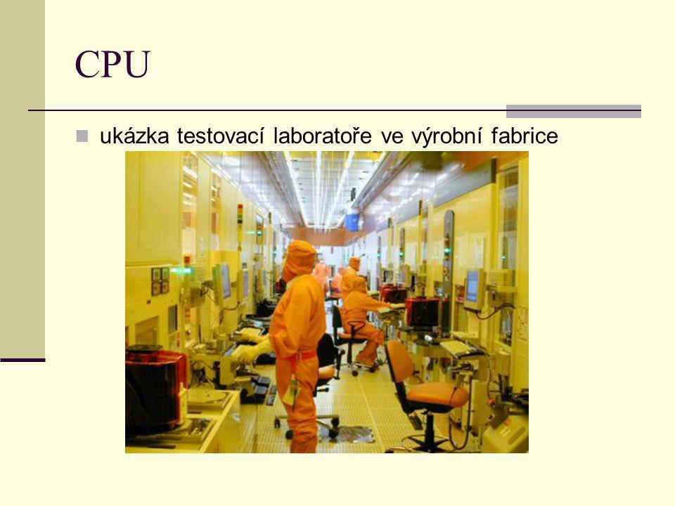 CPU ukázka testovací laboratoře ve výrobní fabrice