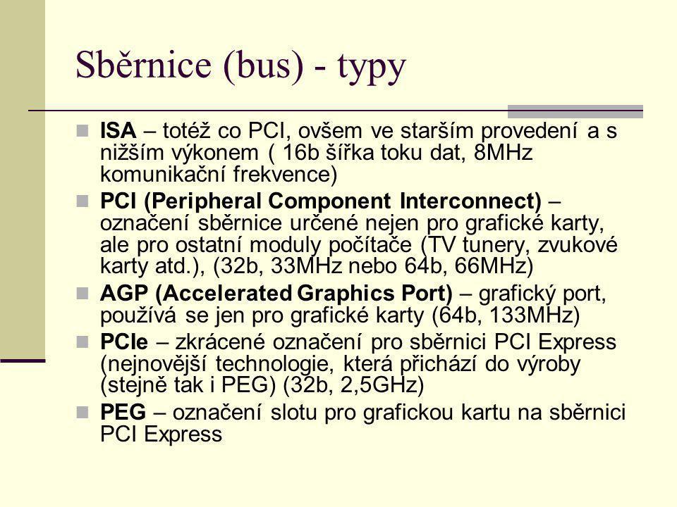 Sběrnice (bus) - typy ISA – totéž co PCI, ovšem ve starším provedení a s nižším výkonem ( 16b šířka toku dat, 8MHz komunikační frekvence) PCI (Periphe