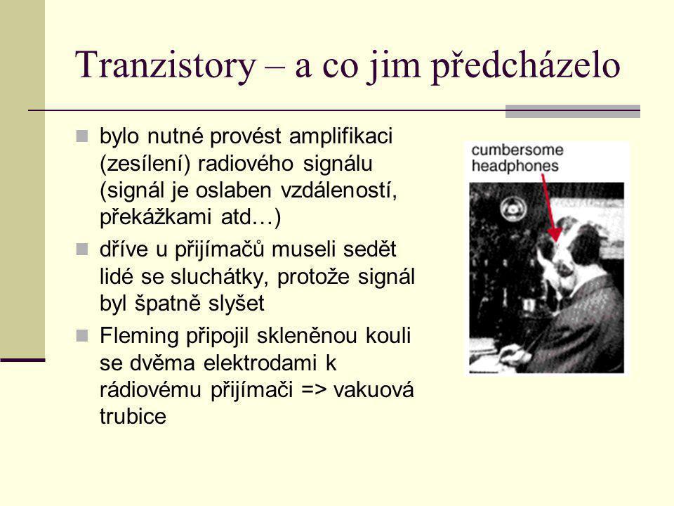 Tranzistory – a co jim předcházelo bylo nutné provést amplifikaci (zesílení) radiového signálu (signál je oslaben vzdáleností, překážkami atd…) dříve