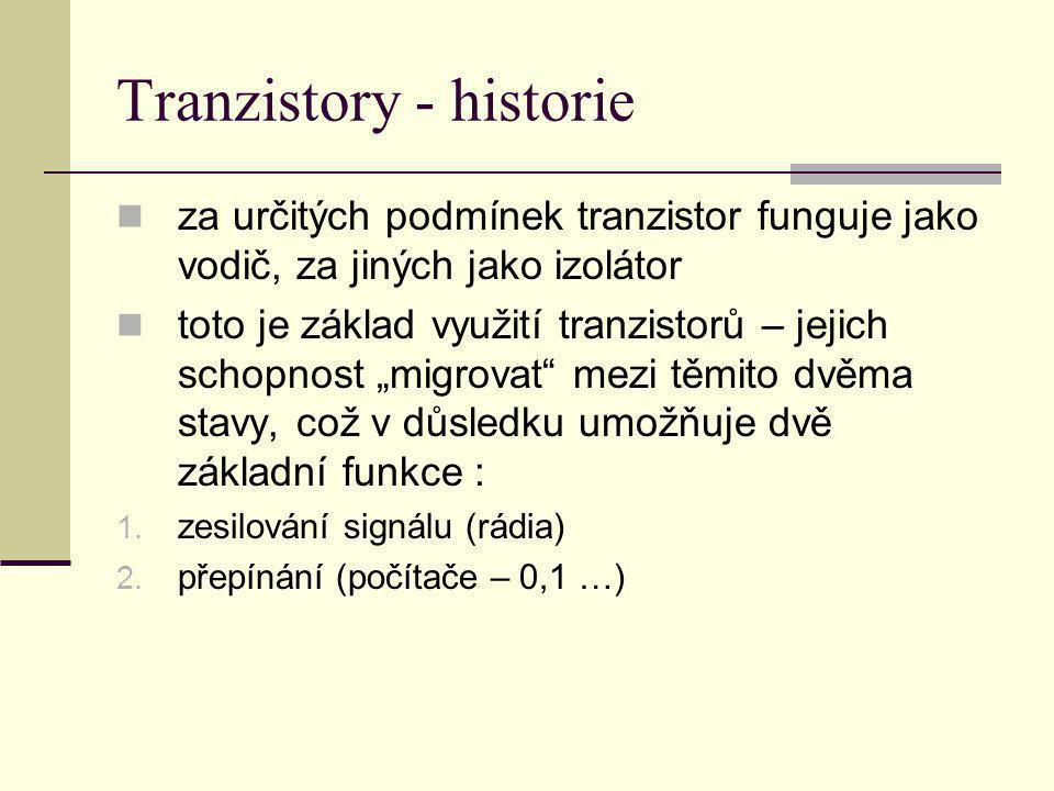 Tranzistory - historie za určitých podmínek tranzistor funguje jako vodič, za jiných jako izolátor toto je základ využití tranzistorů – jejich schopno