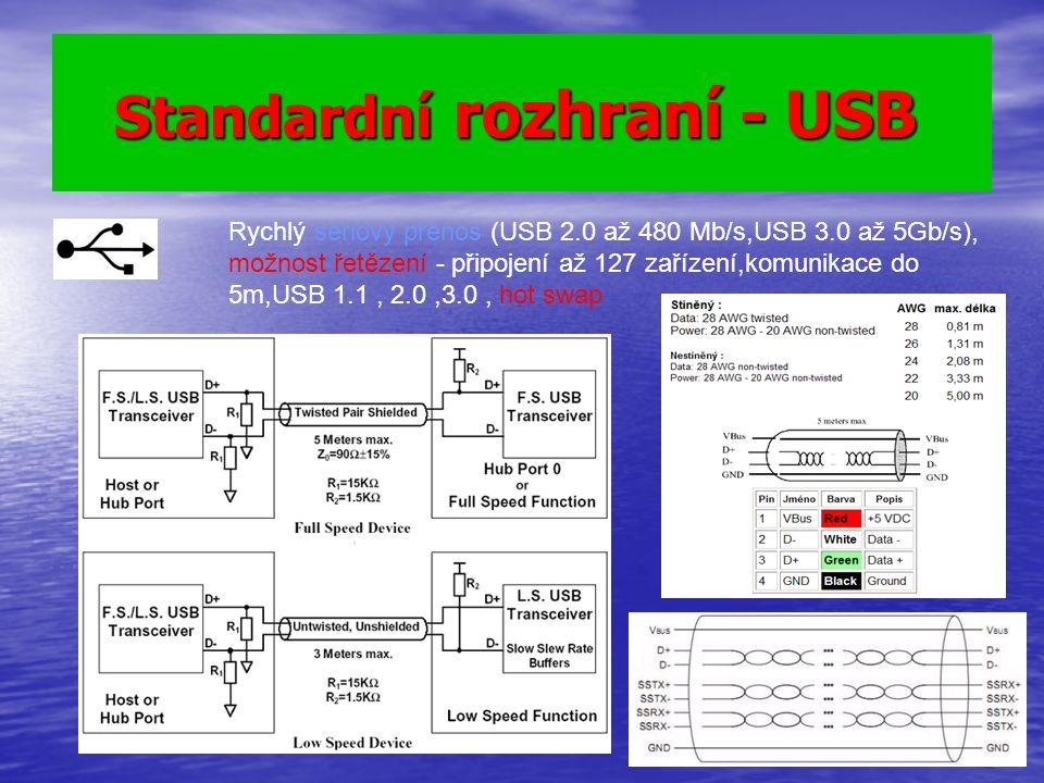 Standardní rozhraní - USB Standardní rozhraní - USB Rychlý sériový přenos (USB 2.0 až 480 Mb/s,USB 3.0 až 5Gb/s), možnost řetězení - připojení až 127