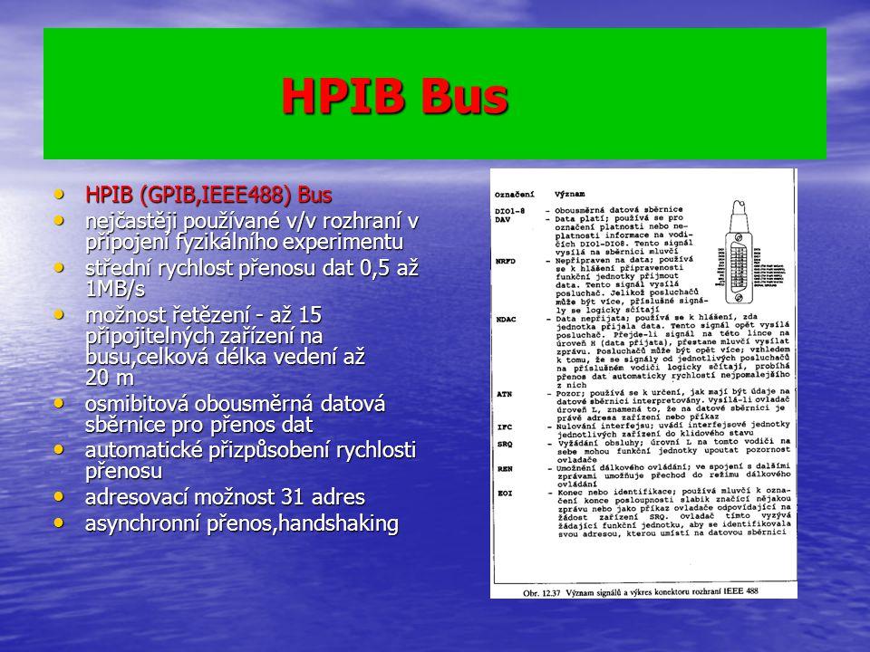 HPIB Bus HPIB Bus HPIB (GPIB,IEEE488) Bus HPIB (GPIB,IEEE488) Bus nejčastěji používané v/v rozhraní v připojení fyzikálního experimentu nejčastěji pou