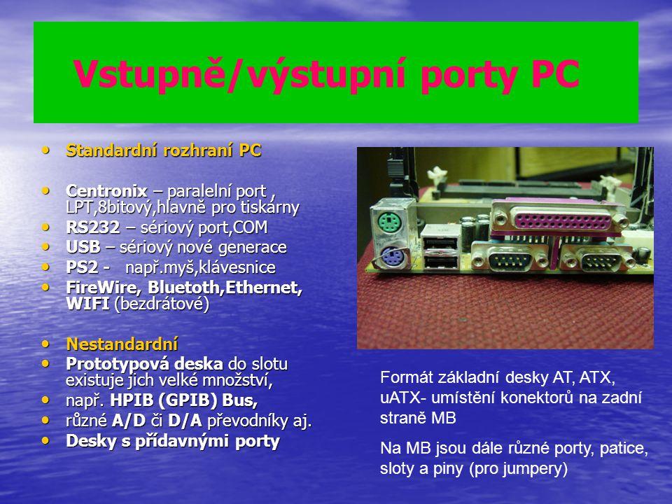 Vstupně/výstupní porty PC Standardní rozhraní PC Standardní rozhraní PC Centronix – paralelní port, LPT,8bitový,hlavně pro tiskárny Centronix – parale