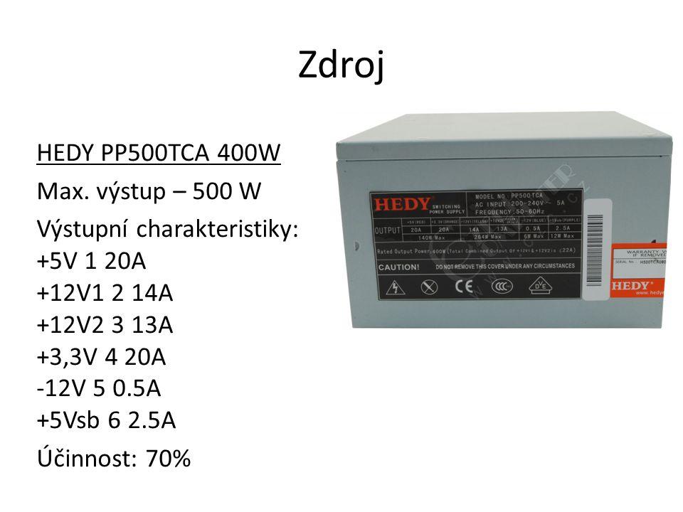 Zdroj HEDY PP500TCA 400W Max. výstup – 500 W Výstupní charakteristiky: +5V 1 20A +12V1 2 14A +12V2 3 13A +3,3V 4 20A -12V 5 0.5A +5Vsb 6 2.5A Účinnost