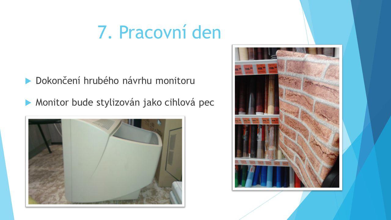 7. Pracovní den  Dokončení hrubého návrhu monitoru  Monitor bude stylizován jako cihlová pec